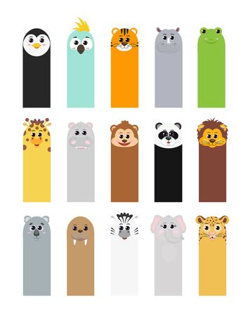 Bookmarks for childrens books with animals: penguin parrot tiger Rhino frog giraffe Hippo monkey Panda lion Koala walrus Zebra elephant leopard. Foto de archivo - 129602886