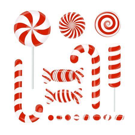 Vector set of red candies. Caramel, Lollipop, Lollipop, striped candy on white Ilustração
