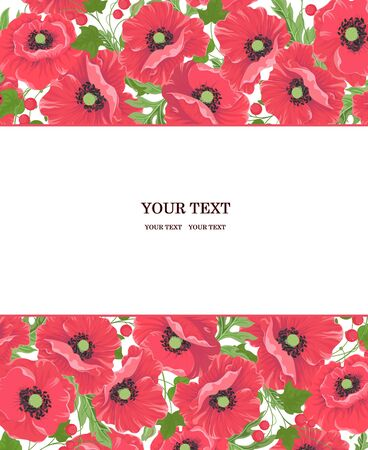 Horizontal floral design of the poppy pattern on a white and place for text. Red poppy flowers with leaves and berries for greeting invitation design brochure banner templates etc Vector