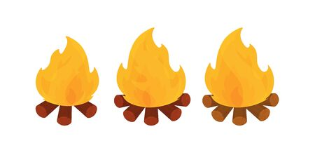 Set in cartoon style burning fire with logs. Fire flame icon for Internet. Design isolated on a white background. Vector.