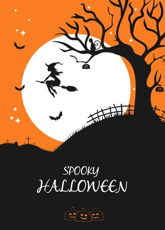 Halloween night banner with witch on broom full moon bat pumpkin and tree