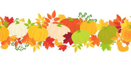 Horizontal seamless background with pumpkins and autumn leaves on white background.