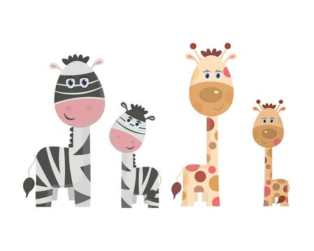 Vector illustration, adult giraffe and Zebra with children cartoon on white background-vector