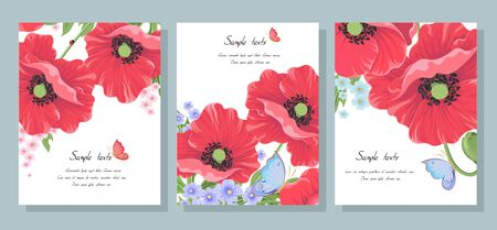 Red vector poppy flowers. Set of postcards with wild flowers: poppy leaves, buds, ladybug and butterfly. Collection of templates for wedding invitation cards banners sales brochure cover design Vector