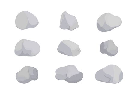 Set of gray stones of various shapes. Granite large and small rocky gravel and boulders vector color collection of illustrations.