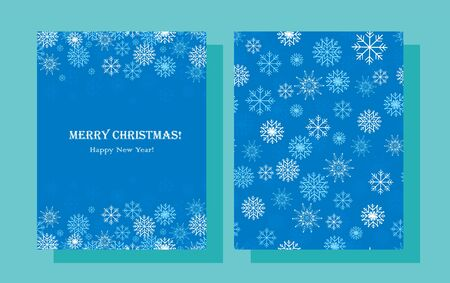 Christmas background with snowflakes. Merry Christmas Happy new year card illustration with abstract icy crystal snow flakes on blue background. Vector graphics.