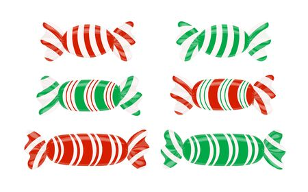 Set of striped candy wrappers. Caramel, Lollipop, vector illustration isolated on white. Graphic element for new year's card Christmas winter holiday new year's eve dessert meal. Vector illustration
