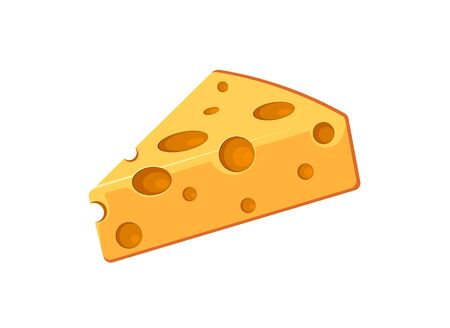 Volumetric piece of cheese vector icon isolated on white background. Cheese slice dairy symbol for website design