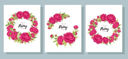 Vector set of cards peony flowers in a circle with text on white. Collection for floral and wedding decoration seasonal sales invitation design celebration birthday party banners posters. Stock fotó - 138288099