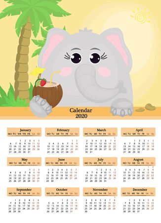 Calendar 2020. A poster of an elephant with a cocktail on a yellow background with palm tree. The week starts on Monday. 12 months on the page. Vector illustration.