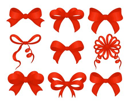 Beautiful realistic red ribbon. Set of different shape red bows decoration for holiday gifts and Christmas cards or birthday party decor isolated on white. Vector.