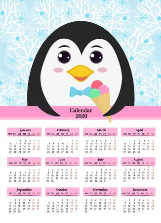 Calendar 2020. Cute cartoon penguin with ice cream in his hands on a background of winter trees and snow.