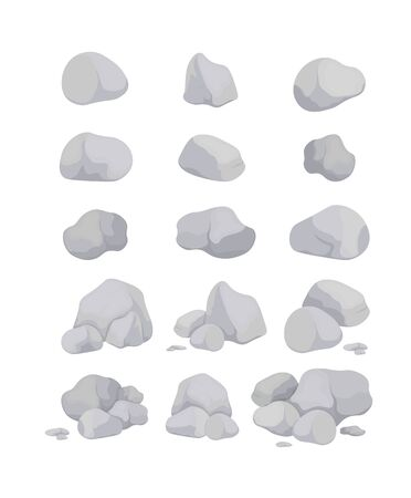 Set of gray stones of various shapes. Natural stone rocks stone pile for mountain landscape. Vector