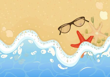 The beach and the sea. Summer wave background with bubbles, sea stars, shells and seaweed on the shore sunglasses a great design element, on a Sunny summer holiday. Vector graphics