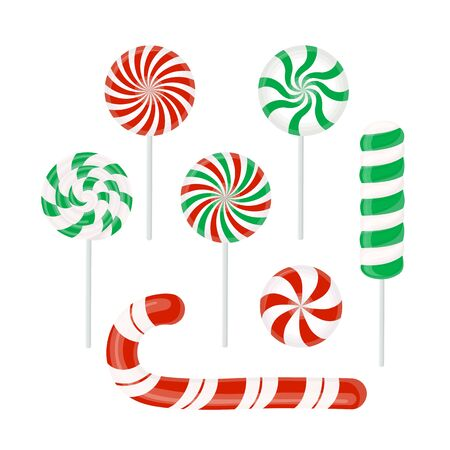 Set of red and green candies. Christmas candy caramel, Lollipop, Lollipop isolated on white. Vector design element for Christmas New year, winter holiday, website, mobile app, dessert, etc