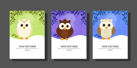 Vector illustration of a cute Owl in the forest, forest landscape, with space for your text. Set of flat cartoon style suitable for banner, flyer, sticker, card, background.