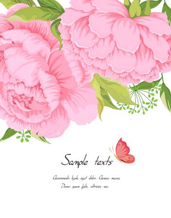 Pink peony flowers leaves buds and leaves herbs of the field grass and butterfly with text in white. Botanical design wedding invitation template postcards banners posters invitation vector templates. Ilustración de vector