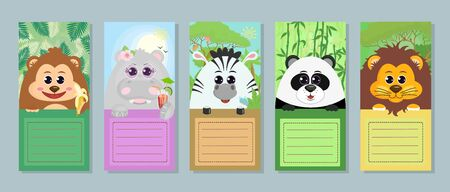 Collection of labels for children. Set of vector tags with animals: monkey Hippo Zebra Panda lion on white background for greeting note notebook sticker template. Vector graphics.