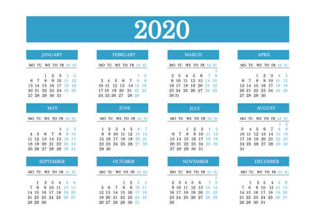 Calendar 2020. The week starts on Monday. Stationery 2020 template with a simple design. Vector.