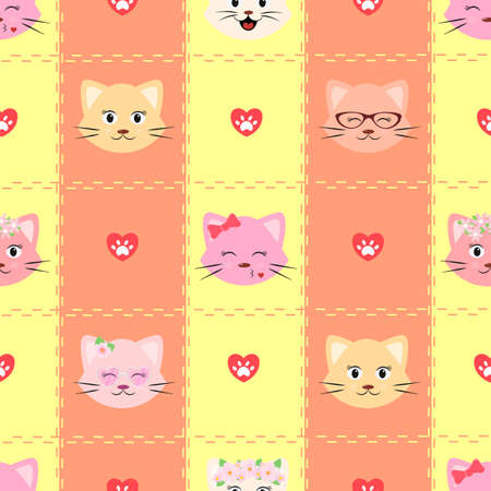 Pattern with a cat on a striped background. Seamless pattern with a smiling cat. Children s seamless background with cartoon cat faces heart and paws. Vector illustration. Stock Illustratie
