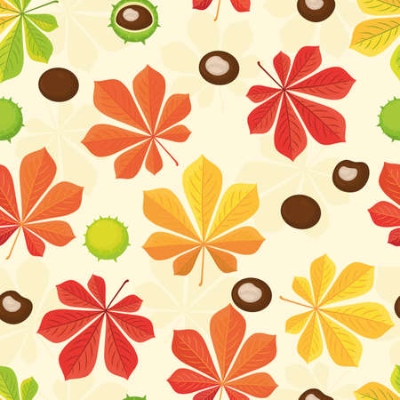Autumn seamless pattern. Autumn background with chestnuts and chestnut leaves. Chestnuts peeled and whole with green skin. Vector illustration of a cartoon in a flat design.