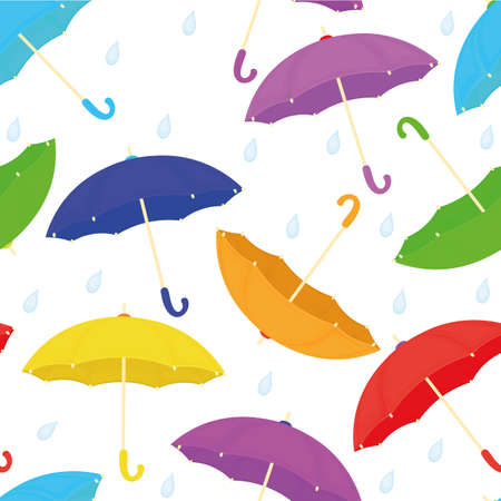 Vector seamless background with various colorful umbrellas with rain drops on white background. Flat cartoon style. All items are available for editing.