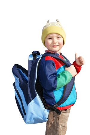 insulated: The boy stands with open backpack, insulated