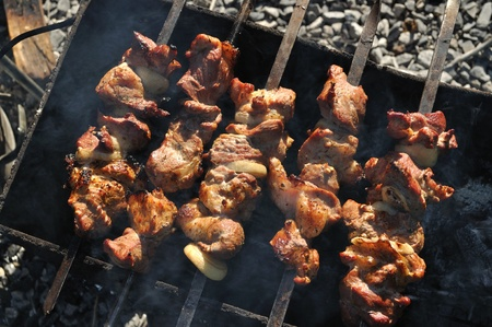 Fried meat on the grill with onions on skewers, barbecue photo