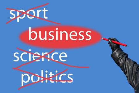 allocated: Words  sports, science, politics crossed out the word business allocated Stock Photo