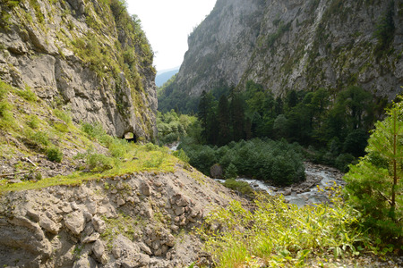 An old logging road running along the canyon, along the Gega River in Abkhazia, the Caucasus