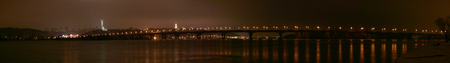 right bank: Night panorama to Paton bridge in Kiev, a view of the right bank