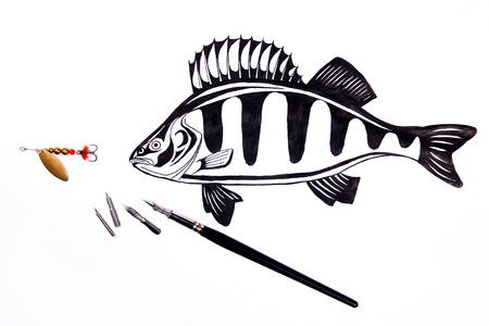금속 미끼 낚시 및 흰색 배경에 그리기 퍼 치와 만년필을 낚시. 만년필 및 흰색 배경에 다른 종류의 금속 빻 펜. 잉크 만년필으로 그리기. 스톡 콘텐츠