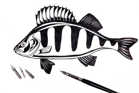 Stylo plume avec dessin perche sur le fond blanc. Stylo plume et différents types de stylo plumes en métal sur le fond blanc. Banque d'images