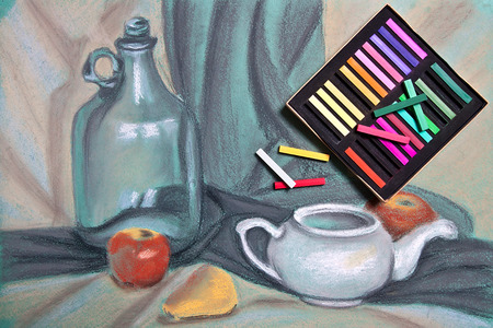 pastel drawing: Artist's chalk pastels and original pastel drawing of still life on the background. Stock Photo
