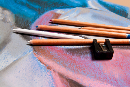 pastel drawing: Pencils pastel and original pastel drawing of still life on the background. Stock Photo