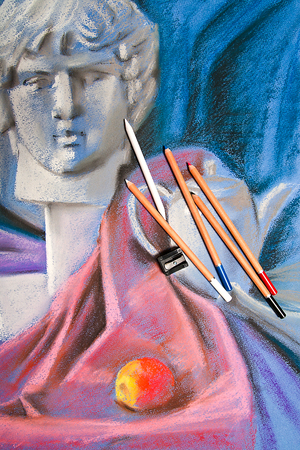 pastel drawing: Color pencils and original pastel drawing of still life on the background.