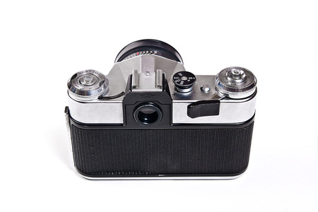 finder: Soviet built range finder camera with 52mm lens. Classic black manual film camera isolated on white background. Stock Photo