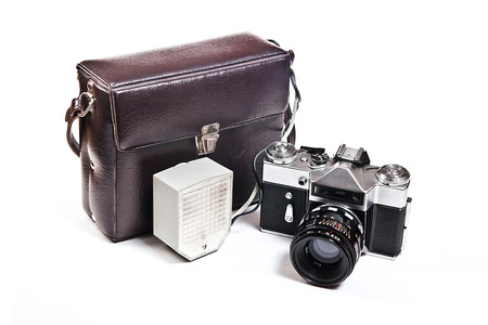 finder: Range finder camera with 52mm lens. Classic black manual film camera isolated on white background.