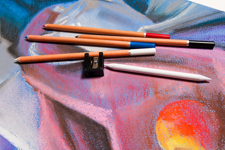 pastel drawing: Chalks pastel and original pastel drawing of still life on the background.