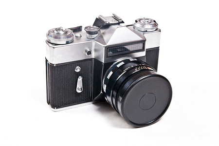 finder: Range finder photo camera with 52mm lens. Classic black manual film camera isolated on white background. Stock Photo