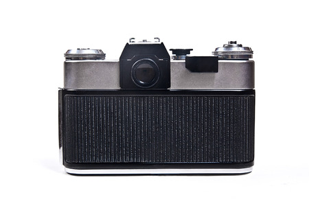 finder: Range finder photo camera with lens. Back view of classic black manual film camera isolated on white background.