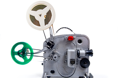 silent film: Retro old reel movie projector for cinema.