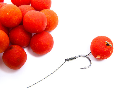 fishing rig: Close up view of fishing baits for carp. Accessories for carp fishing. View of fishing hook and several red boilies isolated on white background.  Stock Photo