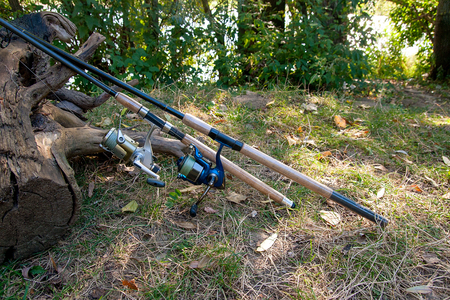 Fishing rods with reels on the natural background. Angler equipment - fishing rods, fishing feeder.