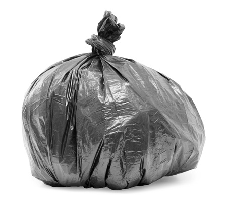garbage bag isolated on white background photo