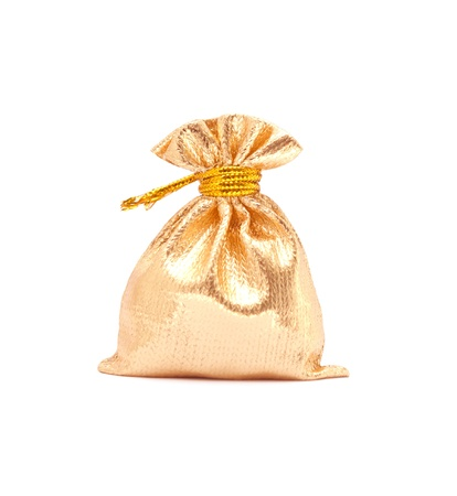 gold bag isolated on a white  photo
