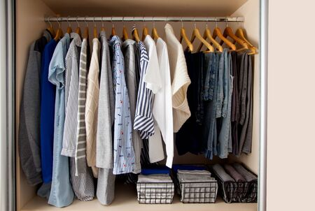 Wardrobe with perfect order clothes shades