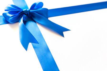 Bright bow for a gift. Close up Foto de archivo