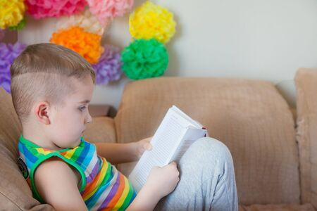 Young boy reading a book while sitting on the sofa.
