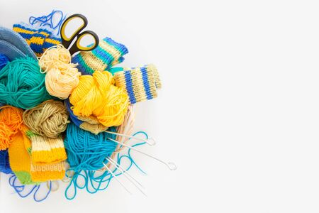 Colored balls of yarn. View from above. All colors. Yarn for knitting. Skeins of yarn. Stock Photo